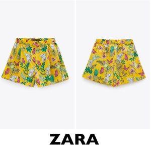 ZARA Yellow Tropical Floral Print Shorts Size XS